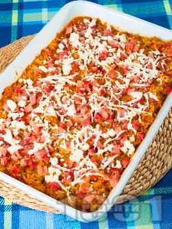 Паста Орзо (арпа фиде) с домати, шунка, зеленчуци и сирене Фета на фурна - снимка на рецептата